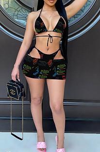Euramerican Fashion Swimsuits Print Three Piece JH241