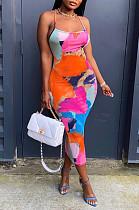 Fashion Print Sexy Sling Backless Dress JG028