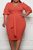 Euramerican Big Yards Fashion Pure Color Bind Dress JG027