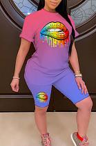أزياء المرأة عارضة طباعة متدرجة من قطعتين JH237