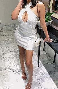 Повседневное сексуальное мини-платье чистого цвета LL6321