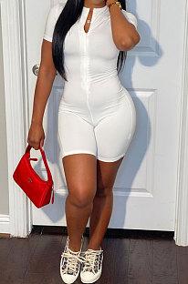 Euramerican Women Short Sleeve Zipper Pure Color Romper Shotrts LL6324
