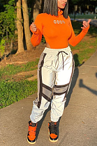 Patchwork Sports Fashion Casual High-Waist Belted Trousers MLD5025