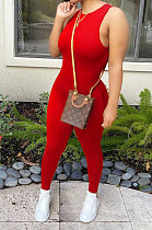 Casual Women Sleeveless Pure Color Bodycon Jumpsuits LL6318