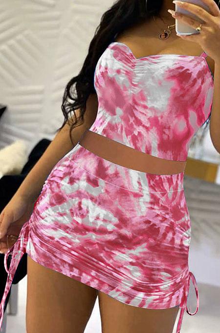 Sexy Tie Dye Bind Dark V Gallus Vest Skirts Set QMQ7040