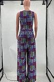 Euramerican Fashion Women Printing Button Casual Jumpsuit AYM5014