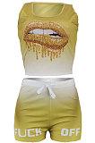 Sleeveless Gradual Change Personality Mouth Graphic Sport Shorts Sets AYM5006