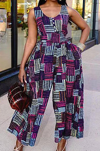 Euramerican Fashion Women Printing Button Casual Jumpsuit AYM5014