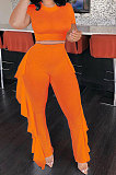 Pure Color Short Sleeve Top Ruffle Pants Pit Bar Two-Pieces KXL831