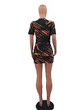 Short-Sleeve Letter Print Striped Pullover Mini Dress MLD5004