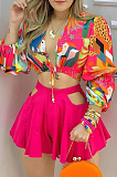 Bow Print Long Sleeve Sexy Shirts Suit MSG8017