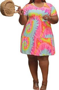 Мини-платье с короткими рукавами и короткими рукавами, простое мини-платье с круглым вырезом и завязанным ремнем, с цифровой печатью CYC751