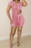 Pure Color Irregularity Casual Milk Silk Shorts Sets KXL827