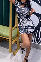 Sexy Cultivate One's Morality Temperament Package Buttocks Printing Shorts Mini Dress CYC743