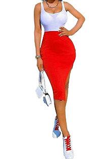 Сексуальное платье миди с открытой вилкой чистого цвета KXL830