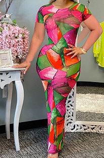 Модное повседневное длинное платье с короткими рукавами и контрастным цветом с геометрическим рисунком RMH8910