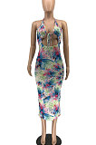Knotted Strap Halter Neck Tie Dye Midi Dress RMH8921