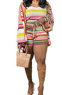 Contrast Color Stripe Vest Shorts Two-Pieces (Do Not Contain Coat)KXL820