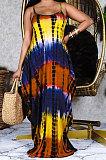 Tie Dye Printing Loose Gallus Long Dress (Contain Pocket)RMH8908