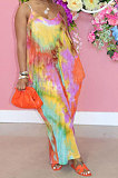Sand Beach Loose Tie Dye Simple Giant Swing Skirts Pocket Gallus Long Dress RMH8914