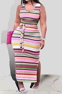 Длинное платье в полоску с контрастной цветной печатью Gallus Pit Bar KXL828