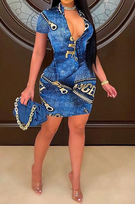 Short Sleeve Zipper Cowboy Printing Mini Dress RMH8905