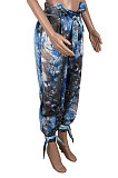 Contrast Color Tie Dye Casual Belt Long Pants KXL832