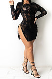 Perspective Sexy Club Zipper Open Fork Mini Dress Q795