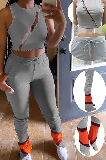 Женские полые спортивные повседневные брюки-клеш из двух частей AMW8305