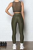 Yoga Suits Net Yarn Spliced Pineapple Cloth Sport Pants Sets Q796