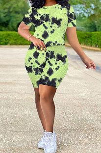 Traje de yoga de tela de piña para mujer, pantalones cortos de teñido anudado deportivo informal, conjuntos Q797