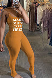Fashion Womne Casual Printing Letter Ruffle Bodycon Jumpsuits BNB99