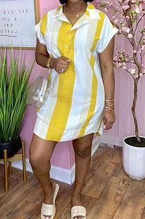 Женщины в полоску с цифровой печатью Повседневная футболка / платье ORY5192