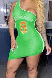 أزياء لون نقي الطباعة ضيق قبالة الكتف الرياضة عارضة البسيطة اللباس BNB85