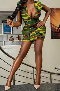 Mini vestido informal con estampado de camuflaje y nalgas XXR2137