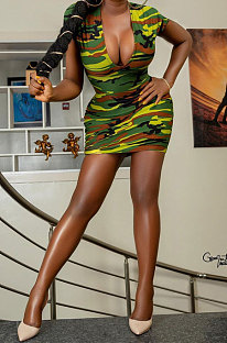 Fashion Casual Camo Printing Package Buttocks Mini Dress XXR2137