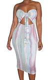 Женское сексуальное платье миди без бретелек, облегающее платье XXR4029