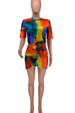 Printing Tie Dye Irregularity Bind Round Neck Mini Dress XXR2018