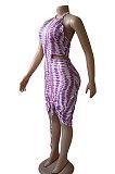 Halter Neck Backless Stripe Printing Sexy Mini Dress BNB026
