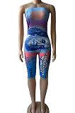 Fashion Off Shoulder Bandeau Bra Printing Romper Shorts BNB016