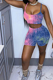 Pineapple Cloth Yoga Suit Casual Gallus Sports Tie Dye Shorts Sets Q818