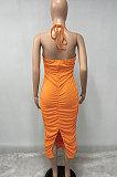 Бюстгальтер-бандо, сексуальное длинное платье с рюшами и открытой вилкой Q836