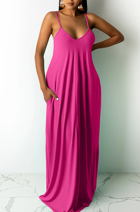 Euramerican Pure Color Loose Sling Dress Have A Pocket ARM8267