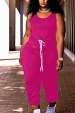 Women Pure Color Vest Drawstint Loose Casual Jumpsuit ARM8272