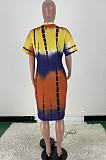 Casual Tie Dye Print Loose V Neck Dress ARM8270