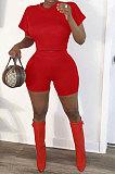 Женские спортивные модные шорты с коротким рукавом из чистого цвета Q805