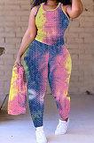 Waffle Yoga Suit Casual Vest Tie Dye Long Pants Two-Pieces Q831
