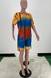 Fashion Tie Dye Print Loose V Neck Casual Jumpsuit ARM8269