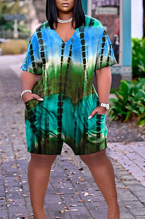Fashion Tie Dye Print Loose V Neck Casual Jumpsuit ARM8269