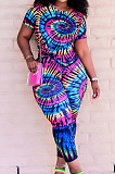 Euramerican Tie Dye Positioning Print Loose Two-Piece ARM8276